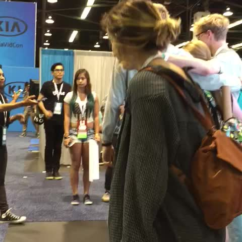 At vidcon meet and greet with packie and adam taking great photos video player m4hsunfo